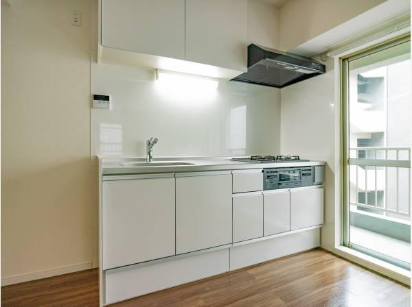 新規交換された清潔感溢れるシステムキッチン。プライベートスペースを彩るインテリアとしての美と、快適な日常を支える機能性と強さが、ひとつになったキッチンです。